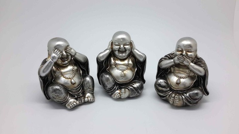 Buda Plateado Oir Ver Y Callar Dbambu