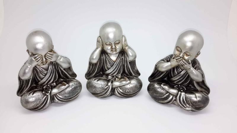 Budas Monjes Plateado Oir Ver Y Callar Dbambu
